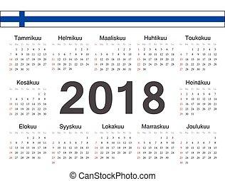 cirkel, vektor, kalender, finska, 2018
