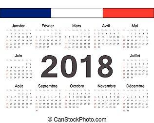 cirkel, vektor, kalender, fransk, 2018
