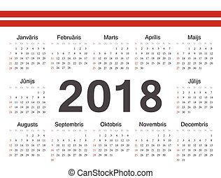 cirkel, vektor, kalender, lettisk, 2018