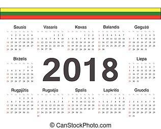 cirkel, vektor, kalender, litauisk, 2018
