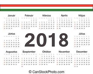 cirkel, vektor, kalender, ungerska, 2018
