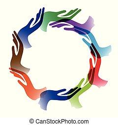 cirkel, verscheidenheid, achtergrond, handen