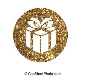 cirkel, vrijstaand, schitteren, gouden, kerstmis vakantie, giftdoos, pictogram
