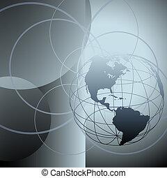 cirkels, aardebol, globaal, abstract