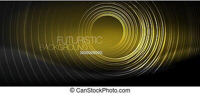 cirkels, abstract, neon, donker, gloeiend, achtergrond
