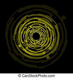 cirkels, abstract, technologie, gele achtergrond
