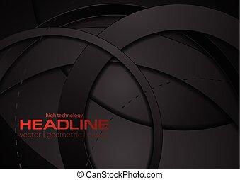 cirkels, abstract, zwarte achtergrond, technologie, geometrisch