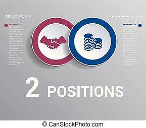 cirkels, diagram, communie, positions., donker, achtergrond...