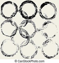cirkels, frame, inkt, grunge