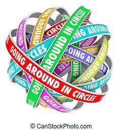 cirkels, gaan, linten, cirkel, ongeveer, woorden