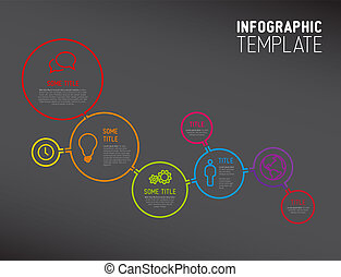 cirkels, gemaakt, moderne, lijnen, infographic, mal, rapport