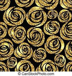 cirkels, gouden, trekken, goud, model, seamless, textuur, hand, achtergrond., black , metalen, schitteren, style., viering