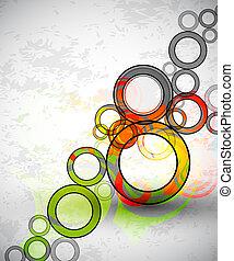 cirkels, grunge, kleur, abstract, vector, achtergrond