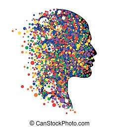 cirkels, hoofd, kleurrijke, abstract, vrijstaand, illustratie, gezicht, vector, white., menselijk