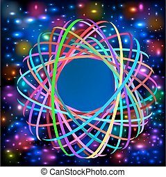 cirkels, ineengestrengelde, gekleurde, licht, abstract, effecte, achtergrond