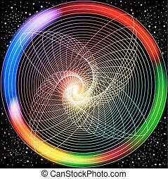 cirkels, ineengestrengelde, gekleurde, licht, abstract, illustratie, effecte, achtergrond