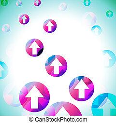 cirkels, middelen, pijl, op, verhuizing, achtergrond