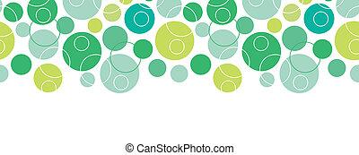 cirkels, model, abstract, seamless, groene achtergrond, horizontaal, grens
