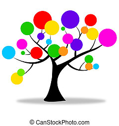 cirkels, natuur, platteland, middelen, de boomstam van de...