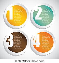 cirkels, nummering, gekleurde