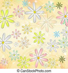 cirkels, oud, ouderwetse , op, veelkleurig, papier, beige achtergrond, madeliefje, bloemen