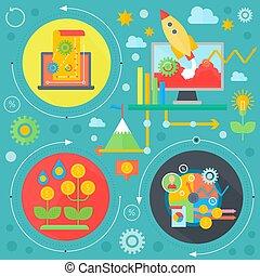 cirkels, plat, communie, illustration., zakenbeelden, poster, concept., strategie, vector, web, mal, infographics, spandoek, ontwerp, financiën