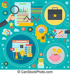cirkels, plat, communie, illustration., zakenbeelden, poster, concept., vector, web, mal, infographics, spandoek, ontwerp, financiën