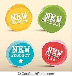 cirkels, product, set, kleurrijke, etiketten, nieuw