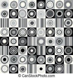 cirkels, punten, strepen, zwarte achtergrond, witte
