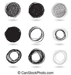 cirkels, reeks, potlood, getrokken