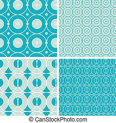 cirkels, set, abstract, seamless, motieven, geometrisch