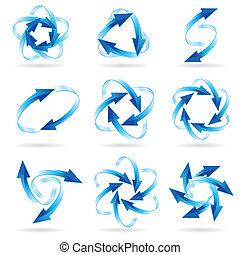 cirkels, set, richtingwijzer
