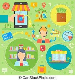 cirkels, shoppen , illustration., iconen, beweeglijk, marketing, online, icons., header, vector, web, mal, infographics, e-handel, digitaal ontwerp