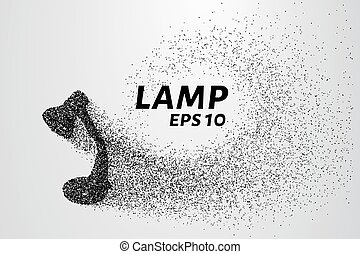 cirkels, silhouette, part., particles., lamp, vector, lampen...