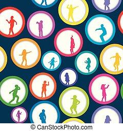 cirkels, silhouettes, seamless, achtergrond, kinderen