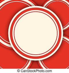 cirkels, space., vector, achtergrond, kopie, rood