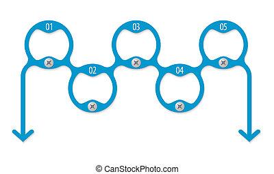 cirkels, tekst, vijf, het binnengaan, samenhangend, enig
