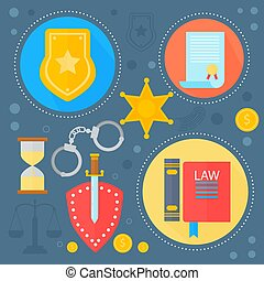 cirkels, web, concept, communie, spandoek, iconen, justitie, poster, vector, ontwerp, mal, infographics, wet, ontwerp, illustration.