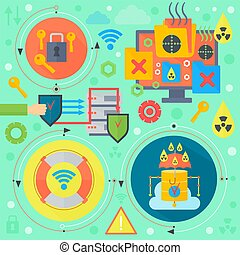 cirkels, web, cuber, illustration., computer, spandoek, iconen, communicatie, online, bescherming, poster, virus, vector, mal, infographics, communie, veiligheid, ontwerp, veiligheid