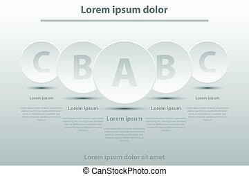 cirkels, website, concept, eenvoudig, poster, dekking, illustratie, infographic, papier, vector, vijf, ontwerp, witte , presentatie, 3d