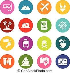 cirkels, zomer, set, kleurrijke, iconen, reizen, vector