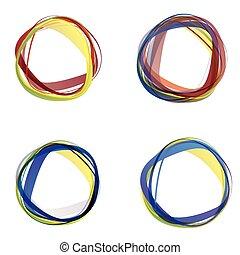 cirklarna, abstrakt, färgrik