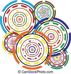 cirklarna, abstrakt, geometrisk, färgrik
