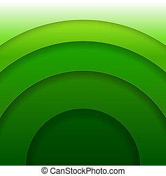 cirklarna, abstrakt, papper, vektor, grön fond