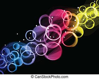 cirklarna, bakgrund., abstrakt, färgrik