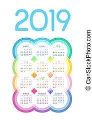 cirklarna, färgrik, flerfärgad, 2019, kalender, list, vit