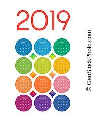 cirklarna, färgrik, flerfärgad, 2019, kalender, vit