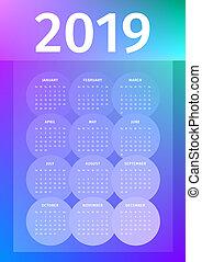 cirklarna, färgrik, neon, glödande, 2019, bakgrund, kalender, genomlysande