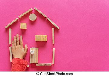 cirklarna, hem, trä kvarter, gjord, pluggar
