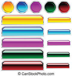 cirklarna, knäppas, rundat, blandad, färger, glatt, scaleable, rektanglar